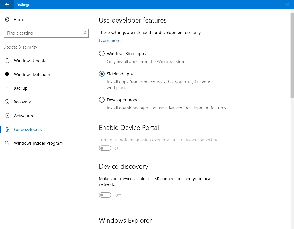 Windows Security, Use developer features, Sideload apps