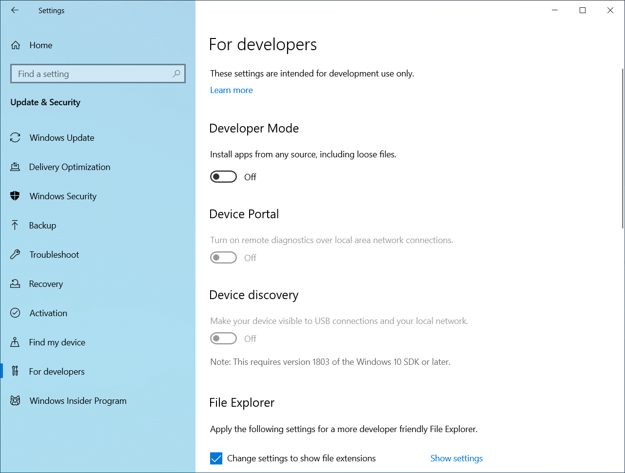 Reorganised For developers section in Windows 10 v2004